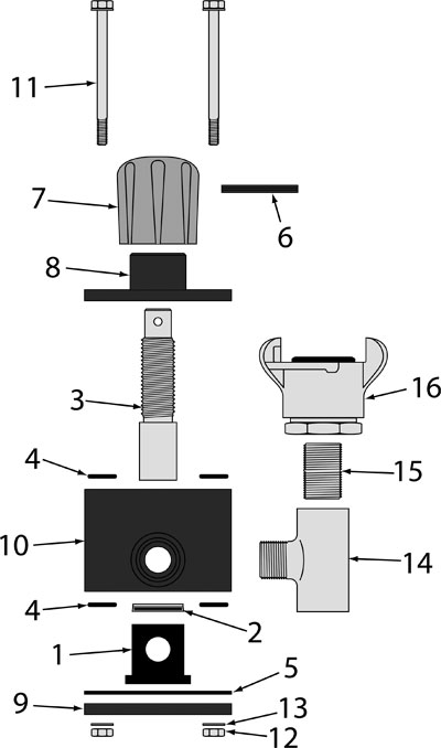 Sketch of how to put together a Mini Manual Plunger Valve.